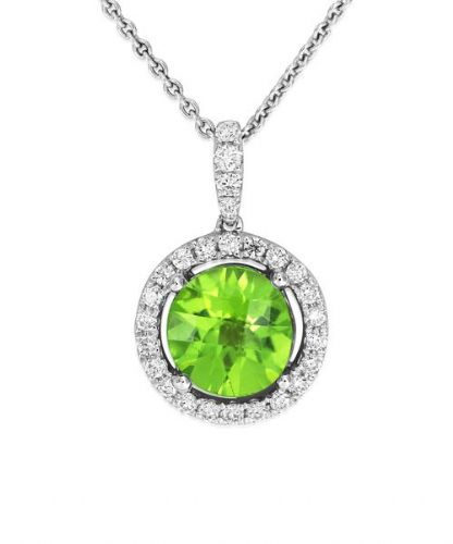 Round Halo Cluster Peridot And Diamond White Gold Necklace